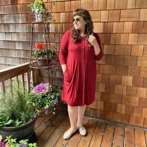 NWT J.Jill Brick Red Knit Dress - Women's X-Large